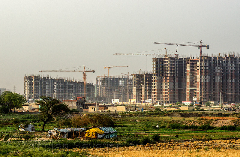 "construction of the planned urban developments ""gaur city 1"" & ""gaur city 2"" in greater noida (india), building construction, buildings, construction cranes, gaur city, greater noida, planned city, urban development, urban planning"