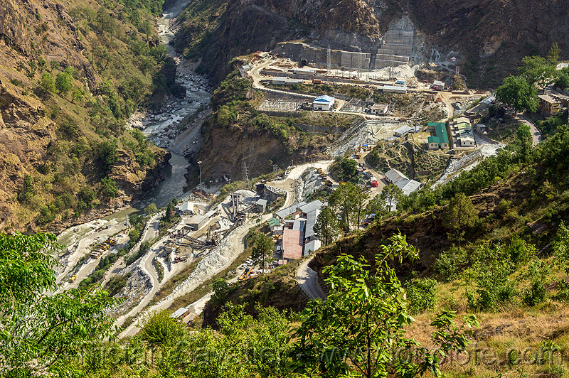 construction of the vishnu-prayag hydro project powerhouse (india), adit, alaknanda valley, construction, hydro-electric, industrial, power-house, tunnel, vishnu-prayag hydro project