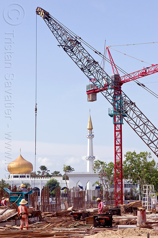 construction site with cranes - mosque, borneo, building construction, construction site, construction workers, cranes, islam, malaysia, man, minaret, miri, mosque, rebars, safety helmet, tower