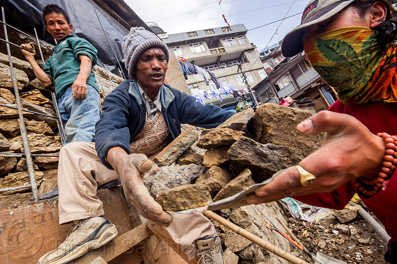 construction workers moving stones (india), carrying, construction workers, darjeeling, men, rocks, stones, street, working
