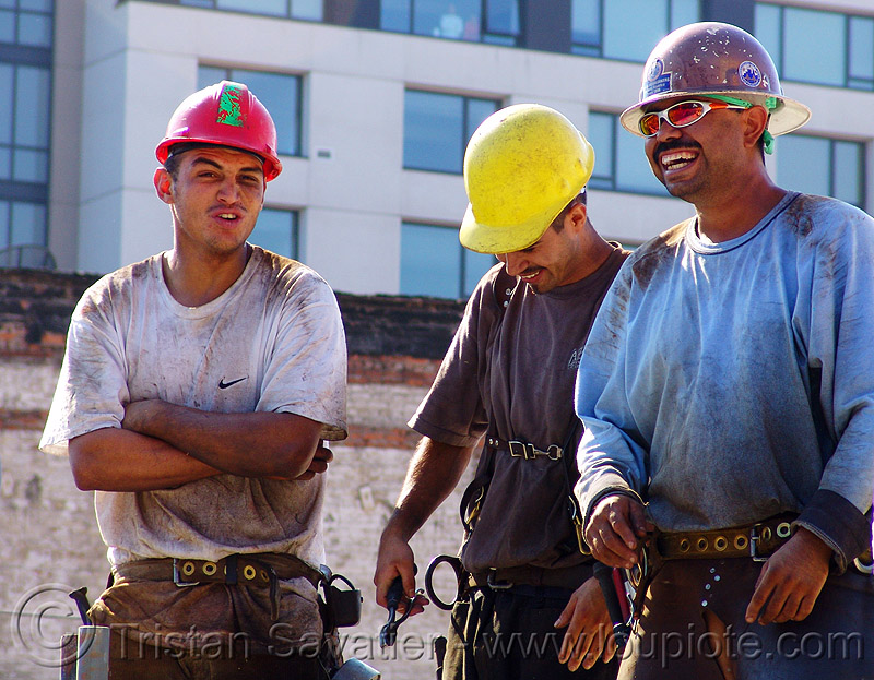 construction workers, builders, building construction, construction zone, men, people, safety helmets