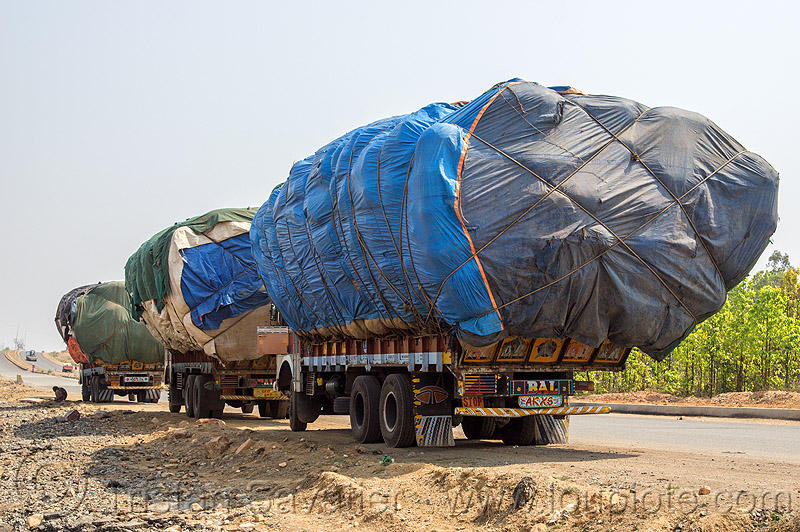 convoy of trucks with oversize loads (india), lorries, overloaded, oversize load, road, tata motors, trucks