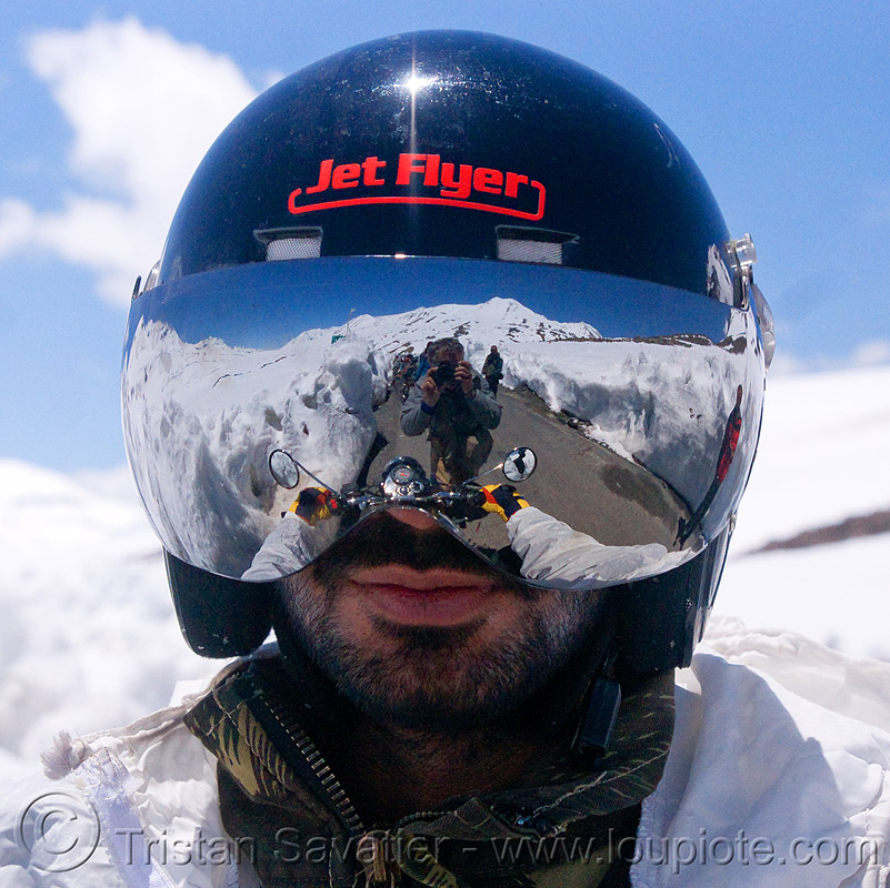 cool motorcycle helmet - himalaya - manali to leh road (india), india, jet flyer, ladakh, man, mirror visor, motorcycle helmet, motorcycle touring, mountains, rider, riding, road, royal enfield bullet, snow