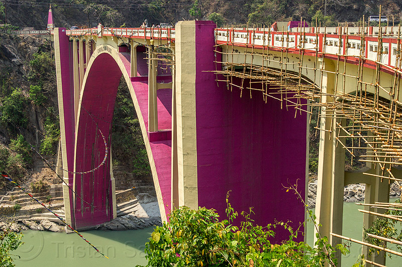 coronation bridge - sevoke bridge (india), arch, bamboo scaffolding, coronation bridge, india, paint, purple, road, sevoke bridge, teesta river, tista, west bengal