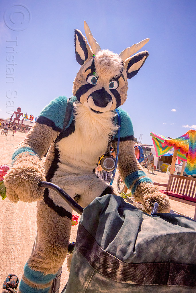 cosplay furry creature - burning man 2015, animal costume, antler tango, bicycle, burning man, cosplay, deer, fur, furry, riding