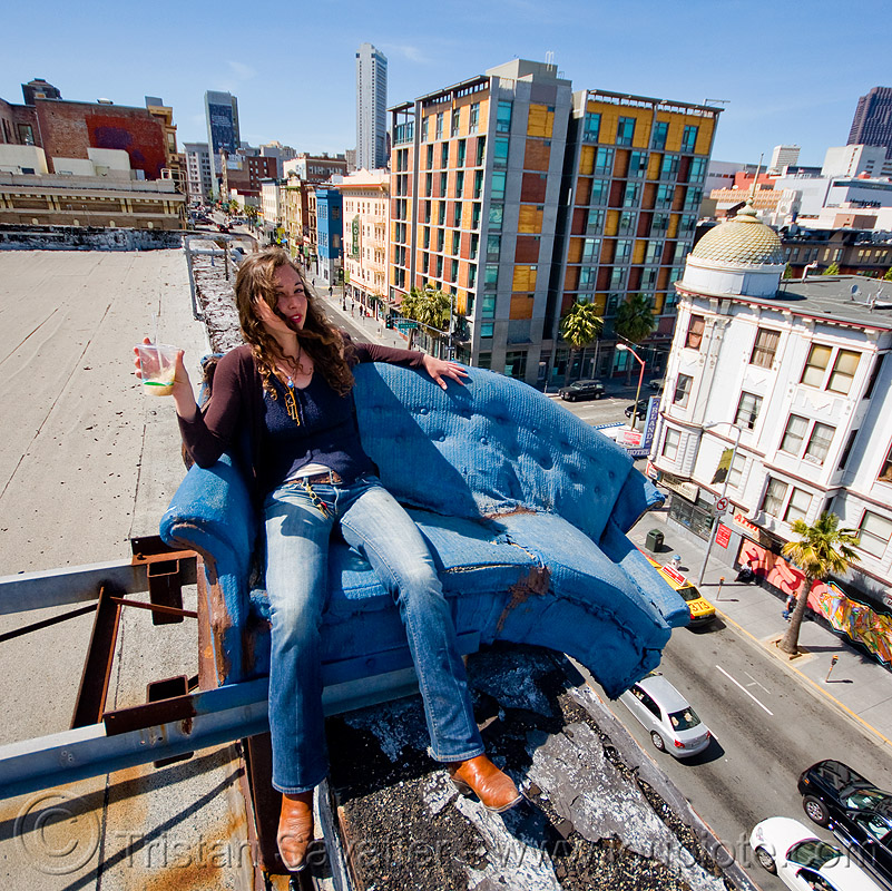 couch surfing (san francisco), abandoned, blue, cars, defenestration building, people, roof, sitting, street, urban exploration, valerie, woman