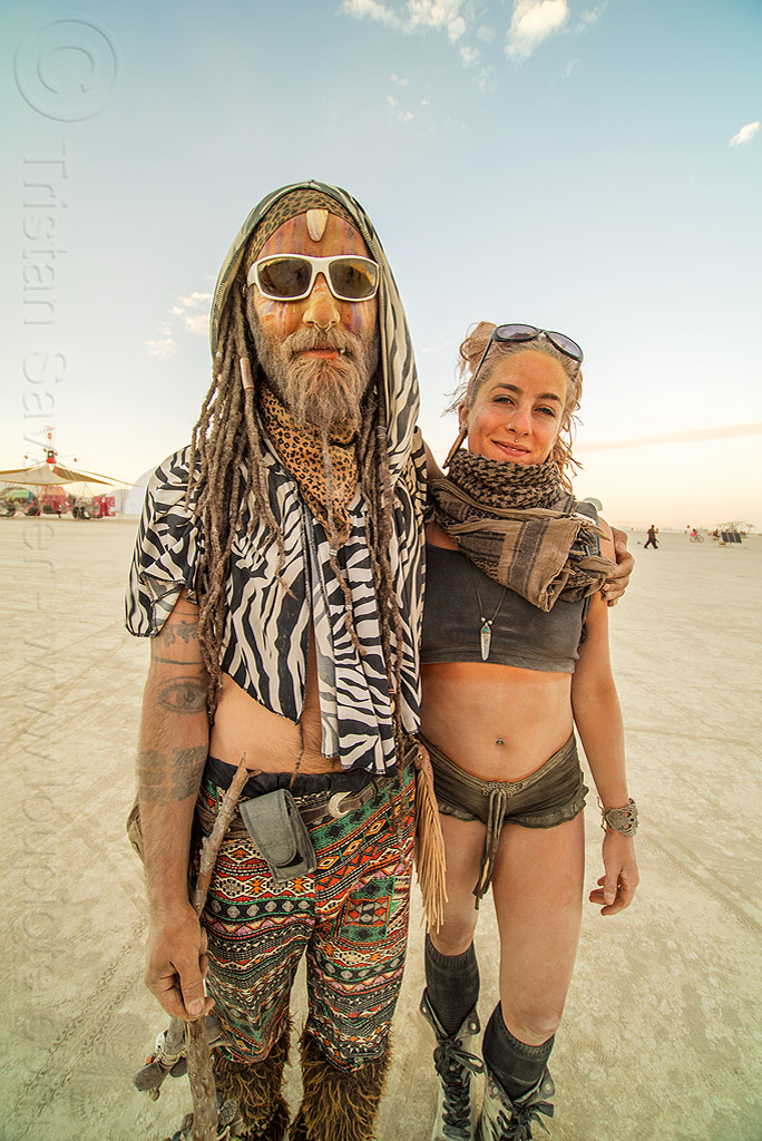 couple - burners - burning man 2016, arm tattoos, beard, burning man, couple, sunglasses, woman