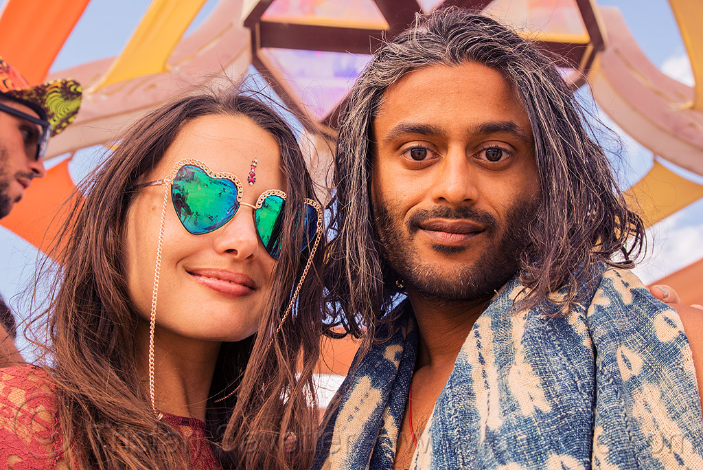 couple - burning man 2016, burning man, couple, heart sunglasses, mirror sunglasses, woman