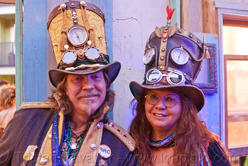 steampunk hats, burning man decompression, couple, goggles, leather hat, steampunk, stovepipe hats, woman