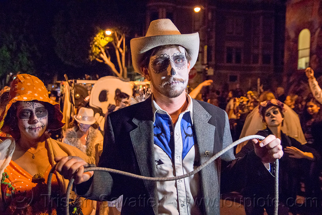 cowboy with lasso - dia de los muertos, cowboy, day of the dead, dia de los muertos, face painting, facepaint, halloween, hat, lasso, man, night, rope, shadow, sugar skull makeup