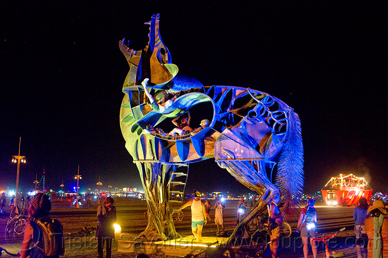 coyote at night - burning man 2013, art, art installation, bryan tedrick, coyote sculpture, metal sculpture, people, statue