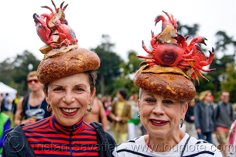 the crabs and bread hats women, bay to breakers, boudin bread, cocktail hats, crabs, festival, footrace, older, runners, senior, street party, two, women
