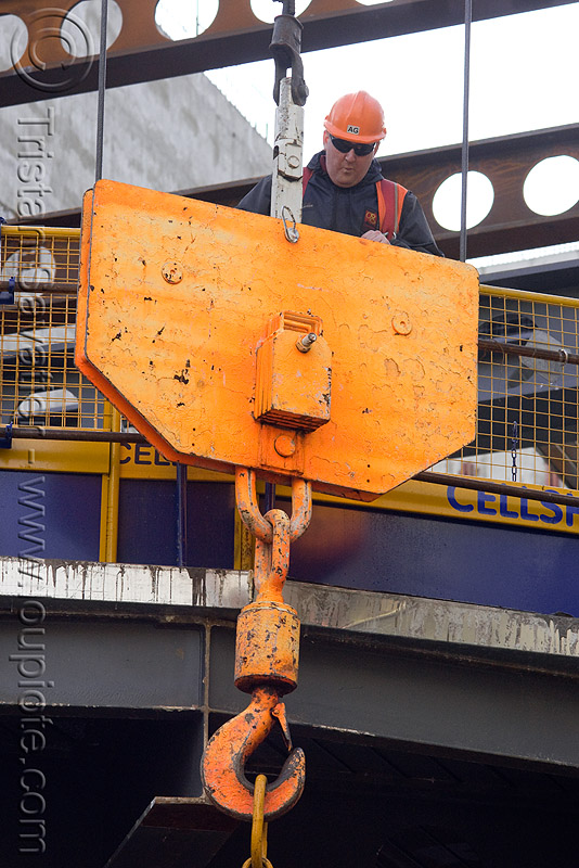 crane hook - building construction, building construction, construction worker, crane hook, london, man, safety helmet, steel beams, steel frame