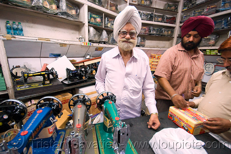 crank sewing machines - shop - delhi (india), beard, crank sewing machine, delhi, men, merchant, paras, selling, sewing machines, shop, sikh, sikhism, vendor