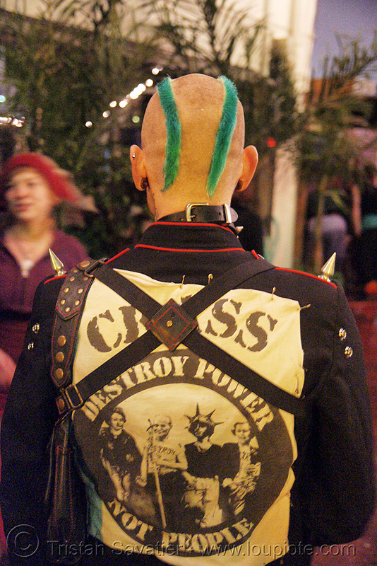 CRASS - destroy power, not people - jelly's (san francisco), anarchist, anarchy, destroy power not people, green, jacket, man, mohawk hair, punk
