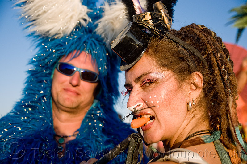 crazy bunnies - marina - burning man 2009, bunny ears, bunny march, carrot, hat, people, woman