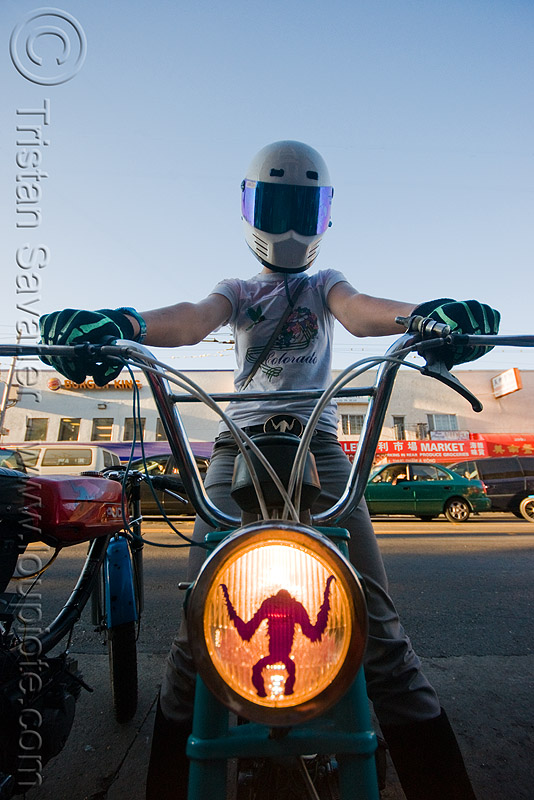 creatures of the loin - moped army (san francisco), full face helmet, headlight, mopeds, motorcycle helmet, people, street