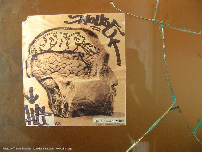 the-criminal-mind - brain autopsy - severed head - poster - abandoned hospital (presidio, san francisco) - phsh, abandoned building, decay, graffiti, human head, presidio hospital, real severed head, street art, the criminal mind, trespassing, urban exploration