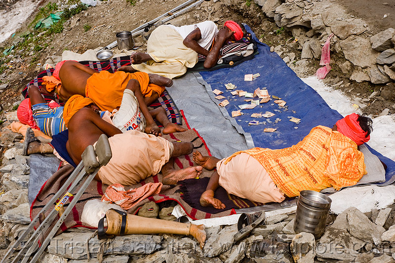 crippled sadhus (hindu holy men) - amarnath yatra (pilgrimage) - kashmir, babas, handicapped, hinduism, man, pegleg, people, pilgrims, prosthesis, prosthetic device, trekking, wooden leg, yatris, अमरनाथ गुफा