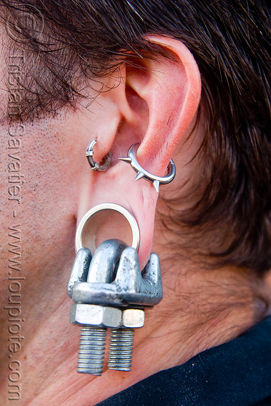 crosby cable clamp earring - gauged ear piercing, body mod, crosby cable clamps, crosby clamps, ear piercing, earrings, folsom street fair, gauged ears, hardware, man, nuts, pierced ear, screws, stretched earlobes