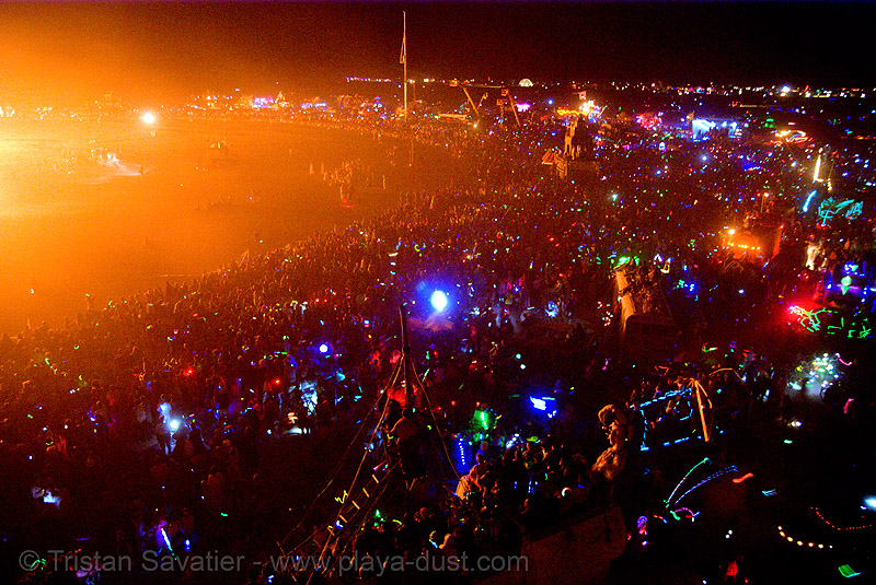 the crowd around the temple of forgiveness - burning man 2007, burn, burning man, fire, night, temple burning, temple of forgiveness