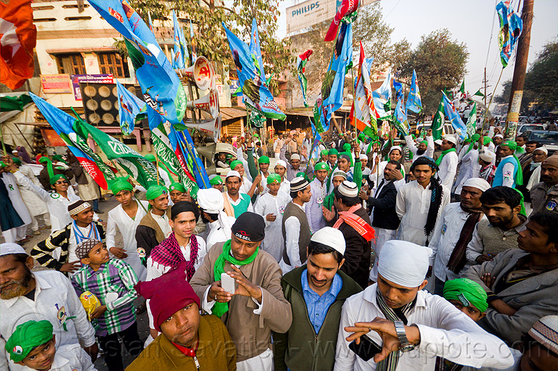 crowd of muslim men with flags - eid-milad-un-nabi muslim festival (india), crowd, eid e milad un nabi, eid e milād un nabī, flags, india, islam, mawlid, men, muhammad's birthday, muslim festival, muslim parade, muslims, nabi day, prophet's birthday, عید میلاد النبی, ईद मिलाद नबी