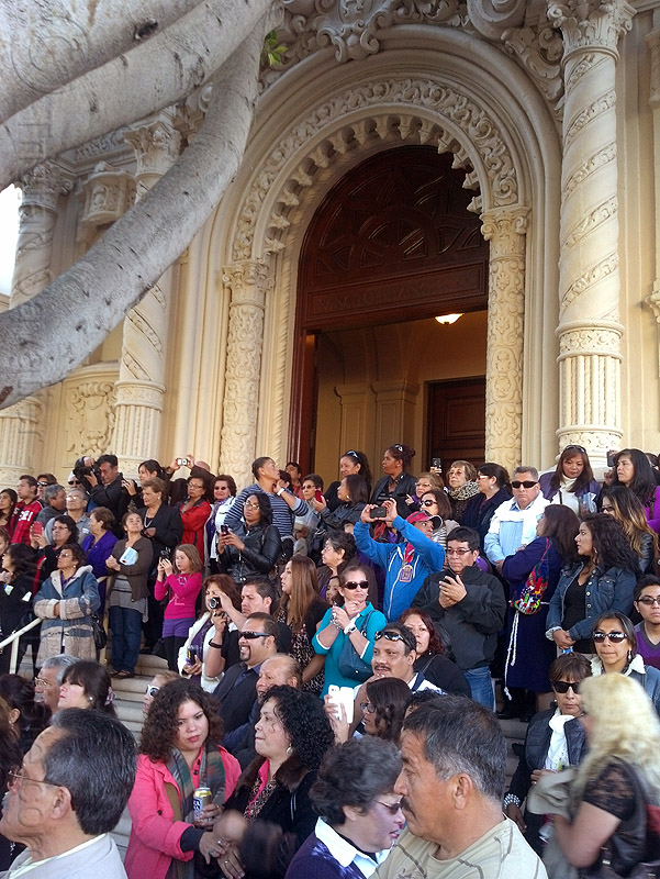 crowd on the steps of mission dolores church (san francisco), church, crowd, lord of miracles, mission dolores, mission san francisco de asís, parade, peruvians, señor de los milagros, steps, vault