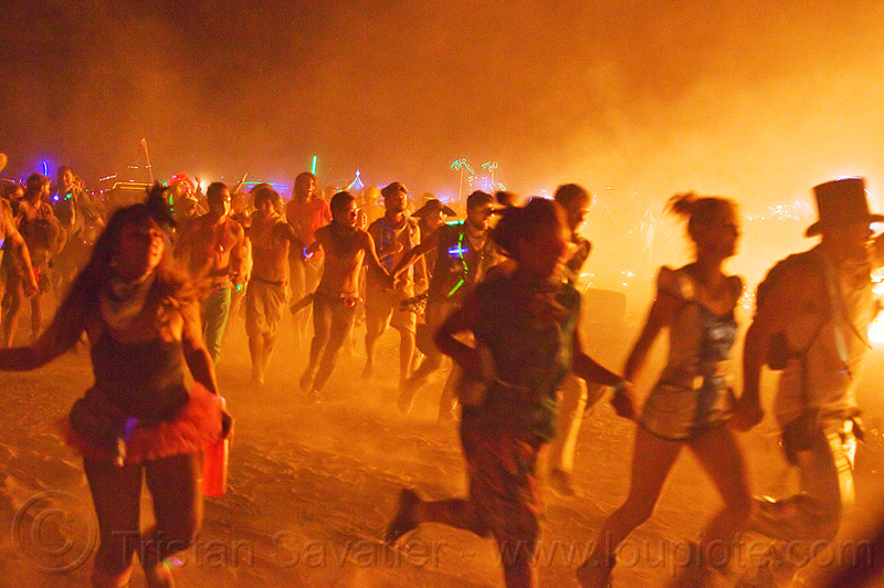crown running around the man's fire - burning man 2013, burning man, celebrating, crowd, dust, glowing, melee, mêlée, night, running, smoke