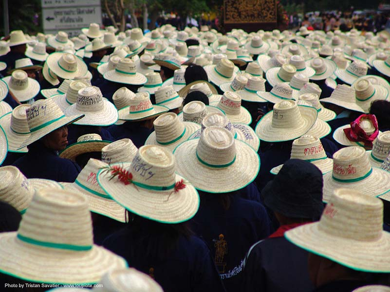 straw hats, crowd, festival, straw hats, street, sukhothai, ประเทศไทย