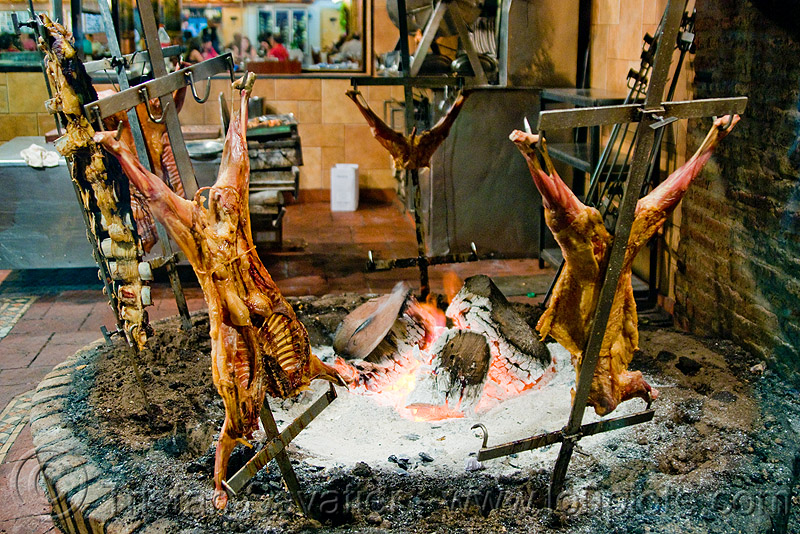 crucified lamb barbecue roasting in restaurant (buenos aires), argentina, asado, barbecue, bbq, buenos aires, carcass, cooked meat, cooking, crucified lamb, la estancia, lambs, restaurant, roasting, wood fire