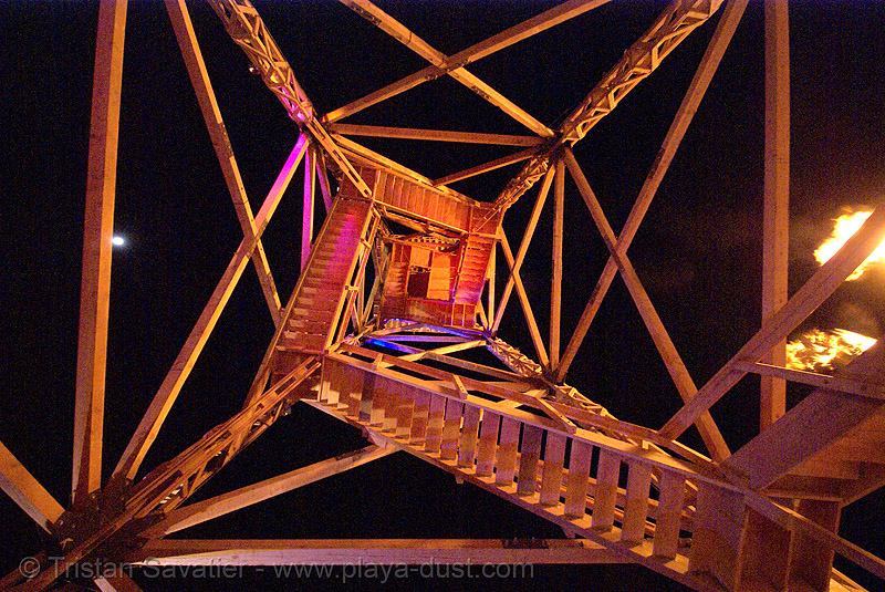 crude awakening - burning man 2007, art installation, burning man, crude awakening, dan das mann, night, oil derrick, sculpture, wood tower