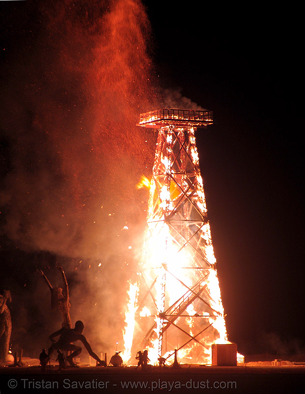 crude awakening - burning man 2007, burning man, crude awakening, dan das mann, fire, flames, night, oil derrick, sculpture, wood tower