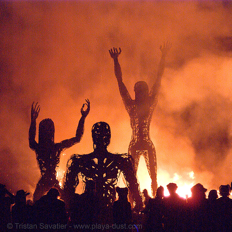 crude awakening - burning man 2007, art installation, crude awakening, dan das mann, fire, flames, night, sculptures