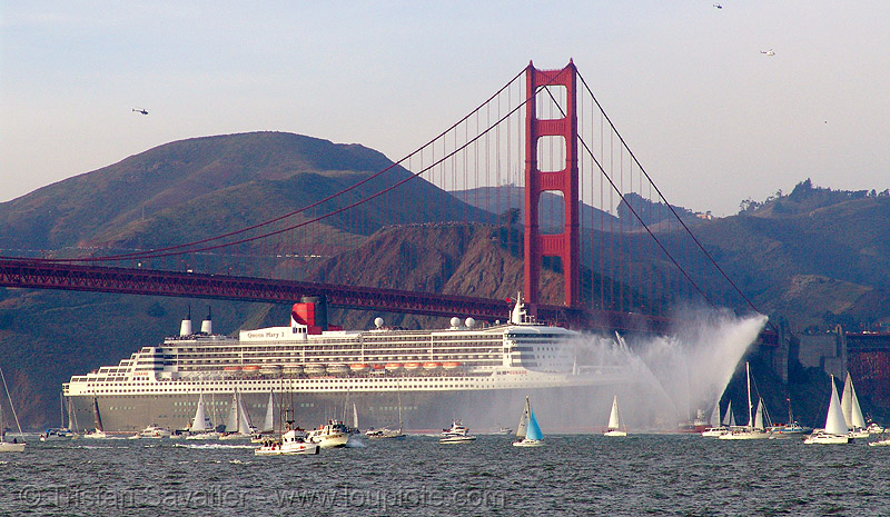 cruise ship queen mary 2 entering san francisco bay, awss, boats, bridge pillar, bridge tower, cruise ship, cunard, fire boat, golden gate bridge, pump boat, qm2, queen mary 2, queen mary ii, san francisco bay, san francisco fire department, sf bay, sffd, ships, suspension bridge