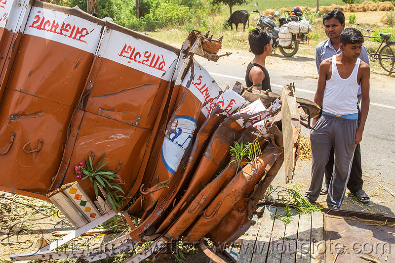crushed truck - wreck - traffic accident (india), crash, men, people, road, truck accident