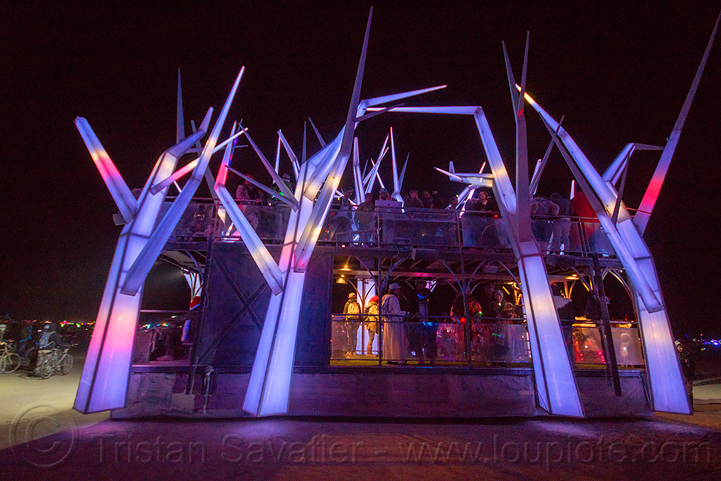 crystal trees art car at night - foresthouse - burning man 2015, foresthouse art car, glowing