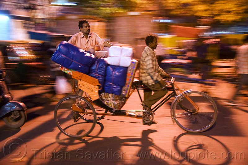 cycle rickshaw - delhi (india), cycle rickshaw, delhi, men, moving, night, street, tricycle, wallahs