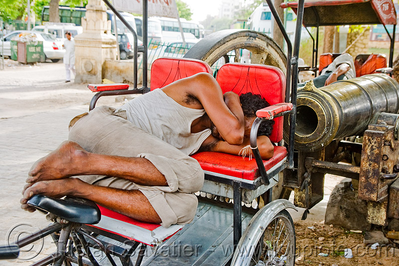 cycle rickshaw driver sleeping near cannon - jaipur (india), artillery, gun, man, napping, people, tricycle, wallah