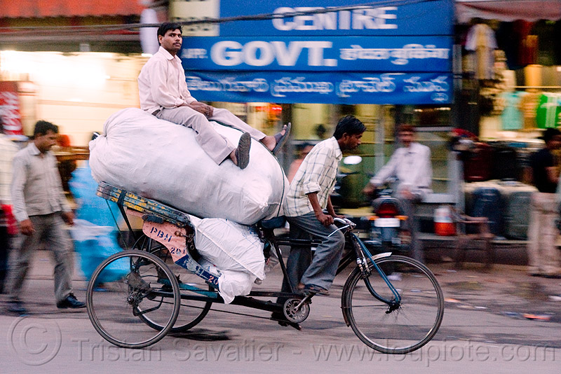 cycle rickshaw with freight load - delhi (india), bearer, cycle rickshaw, delhi, freight, load, men, moving, porter, street, tricycle, wallahs