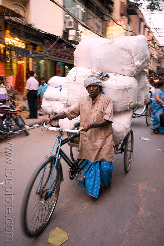 cycle rickshaw with heavy load of freight - delhi (india), bearer, man, moving, people, porter, street, tricycle, wallah