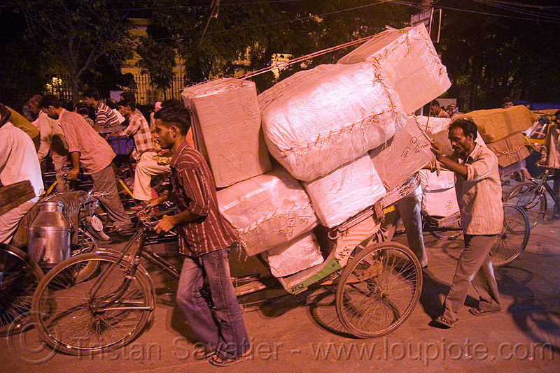 cycle rickshaw with heavy load of freight - delhi (india), bearer, men, moving, night, people, porter, street, tricycle, wallahs