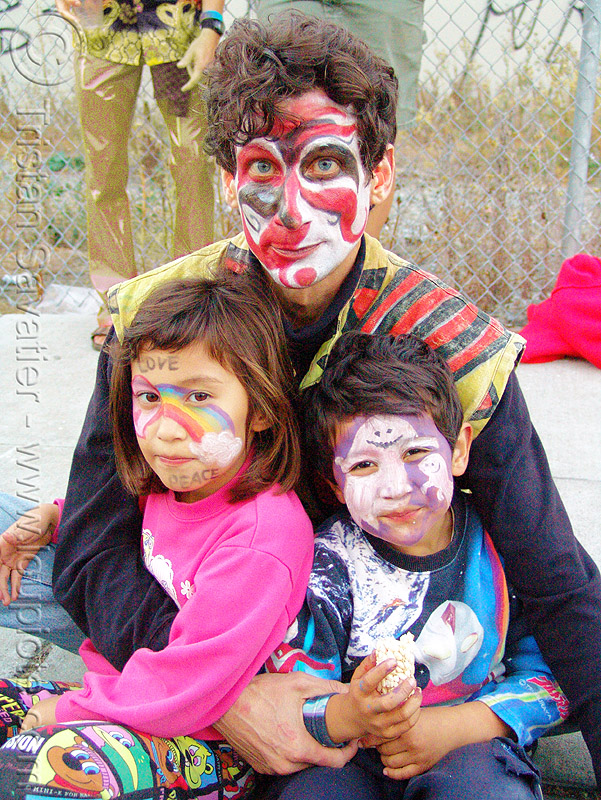 dad and kids with face paint - burning man decompression 2005 (san francisco), child, face painting, facepaint, makeup, people