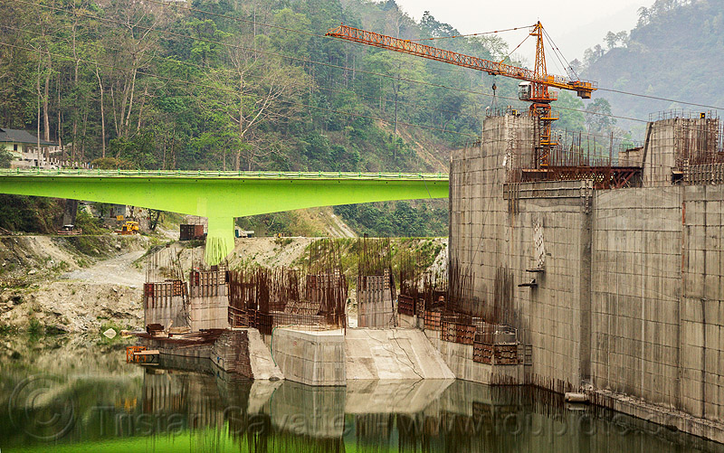 dam construction on teesta river - lanco hydro power project - sikkim (india), bridge, concrete, construction, crane, dam, hydro-electric, industrial, infrastructure, sikkim, teesta river, tista, valley