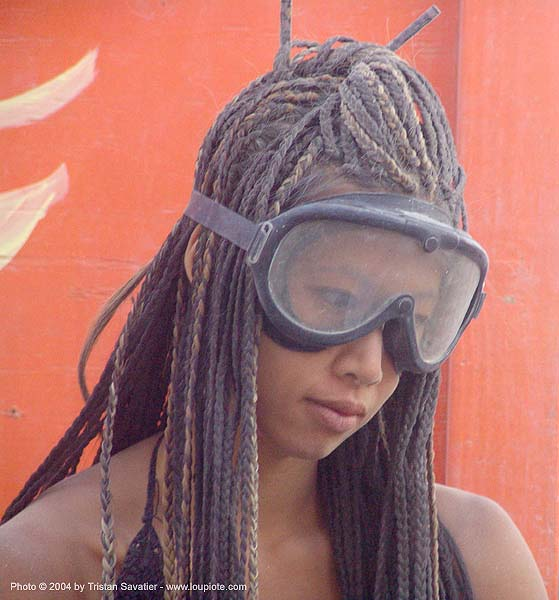 damiana with dust goggles - burning man 2004, burning man, damiana, goggles
