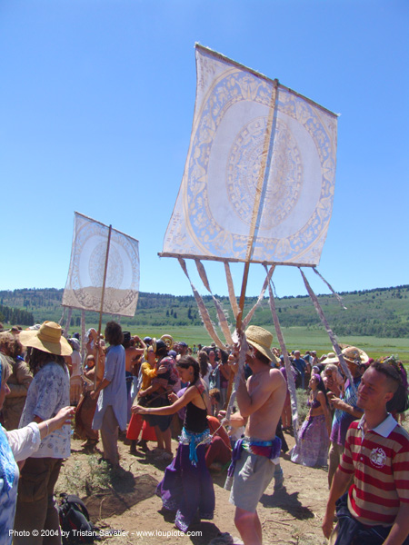 dancers-in-main-circle - rainbow gathering - hippie, banners, crowd, hippie, rainbow family, rainbow gathering