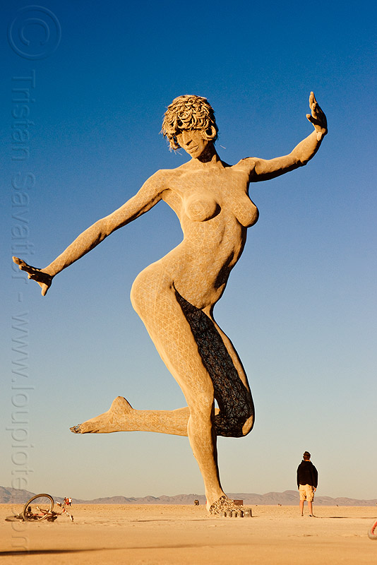 dancing lady, art, art installation, bliss dance, burning man, dancing girl, dancing woman, marco cochrane, sculpture, statue