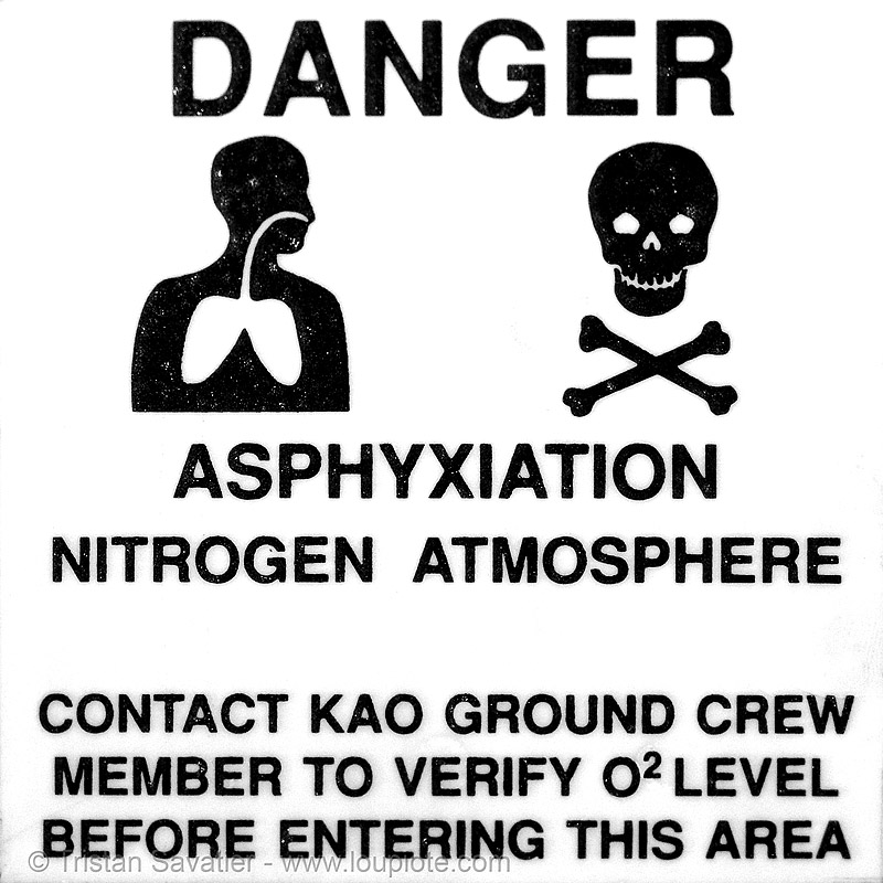 DANGER asphyxiation nitrogen atmosphere, asphyxiation, atmosphere, crossbones, danger, death, ground, hazard sign, kao, nasa, nitrogen, o2, yurisnight