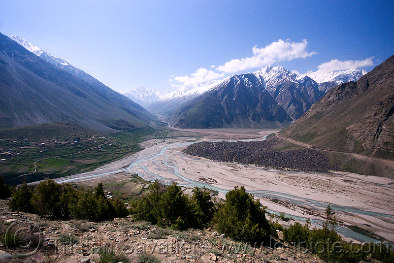 darcha - manali to leh road (india), confluence, ladakh, mountains, riverbed, rivers, valley