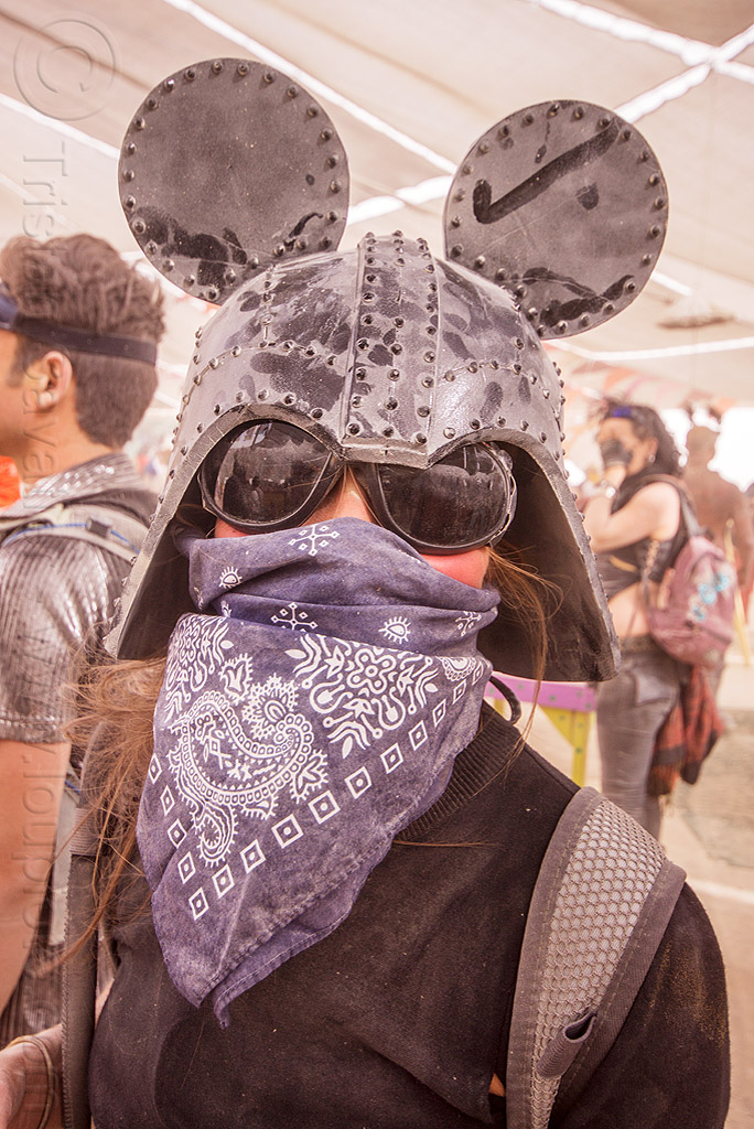 darth vader helmet with mickey mouse ears - burning man 2015, bandana, burning man, darth vader helmet, dusty, face mask, mickey ears