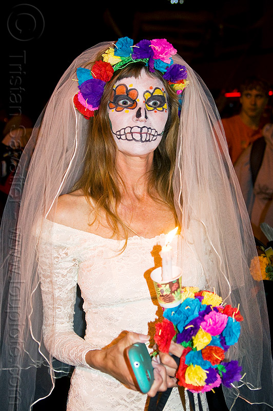 dead bride - sugar skull makeup and rainbow color flowers, day of the dead, dead bride, dia de los muertos, face painting, facepaint, flower crown, flowers, halloween, night, rainbow colors, sugar skull makeup, white dress, white veil, woman